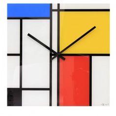 Nextime Time Lines Clock - modern art mondrian glass wall clock
