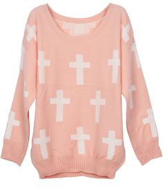 Pink Round Neck and White Cross Pattern Jumper Sweater EUR€23.53
