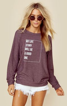 """<p class=""""product-desc-body"""">We love the positive vibes on this super comfy Good Hyouman sweater. Featuring an ultra soft cotton modal fabrication, banded hems, and relaxed fit. </p> </p><ul class=""""product-desc-list""""><li>Imported</li><li>Machine Wash Cold</li><li>Cotton Modal</li></ul><p class=""""product-desc-head"""">Fit Guide:</p><ul class=""""product-desc-list""""><li>Model is 5ft 7 inches; Bust: 32"""", Waist: 24"""", Hips: 34""""</li><li>Model is wearing a size XS</li><li>Relaxed Fit</li><li>Shoes…"""
