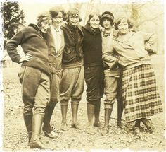 """Young women donning """"sportswear"""", circa 1924.   Click-thru on the link to see other samples of menswear in women's fashion over the years."""