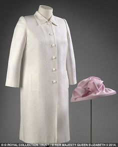The exhibition includes a pink silk dress and white jacquard coat by Stewart Parvin, with ...