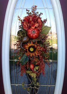 "Fall Wreath Autumn Wreath Thanksgiving Teardrop Vertical Door Swag Decor..""Fall…"