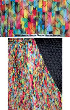 Check out this fabulous water-resistant quilted jacketwear, a 3-layer fabric with a printed upper layer (cottony hand), white cushioning and a black underlayer. The prism-like design is quite colorful in this retro/ironic/fashion-forward print, with all colors of the rainbow (PANTONE 12-0752, 18-4051, 17-1547, 16-5422, etc.). It's more firm than drapey and the quilting stitch is an overlapping diamond design.