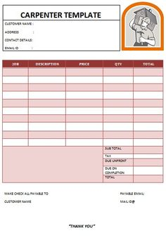 25 Best Carpenter Invoice Templates Images Carpenter Invoice
