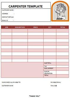 carpenter invoice template-14 | carpenter invoice templates, Invoice examples
