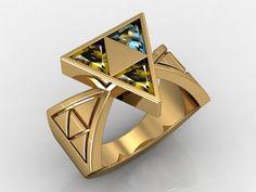 Custom Made 14 Kt Yellow Gold Zelda Triforce Of Wisdom Ring