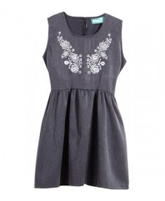 Floral Embroidery Sleeveless Dress - Dresses - Clothing