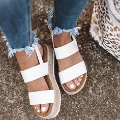 2019 Women Sandals New Platform Sandals With Wedges Shoes For Women Summer Chaussures Femme Leather Chunky Heels Sandalias Mujer Espadrilles Chanel, White Espadrilles, White Sandals, Espadrille Sandals, Heeled Sandals, Sandals Platform, Sandal Heels, Strap Heels, Espadrilles Outfit