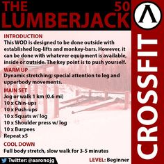 """The Lumberjack 50"". A cardio, bicep/arms, and legs WOD designed for beginners. CrossFit."