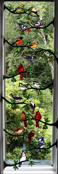 Window Frame Birds by Chippaway Art Glass