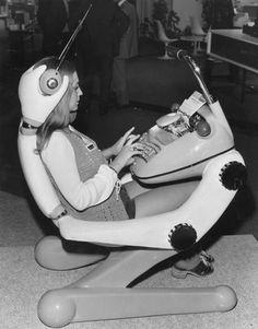 Retro Rocket Girl - Futuristic workstation of the 1970s.