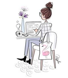 Pictures for tracing for beginners and Bilder zum Nachzeichnen für Anfänger und Fortgeschrittene Woman wearing a plaid shirt and blue trousers works on the computer, purple flowers in a vase and a cup of coffee - Illustration Mode, Illustrations, Illustration Photo, Anime Pokemon, Girly, Fashion Sketches, Fashion Art, Fashion Beauty, Art Drawings