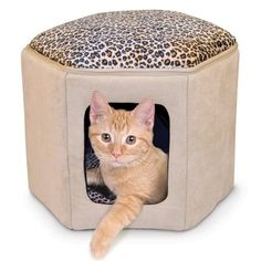 K  H Tan Leopard Print Indoor Micro Suede Kitty Sleep house Cat Pet Bed -- For more information, visit image link.(This is an Amazon affiliate link and I receive a commission for the sales)