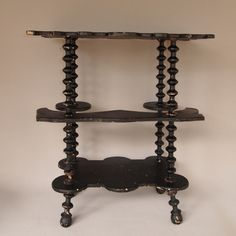 folk art table with booth-shaped shelf full view