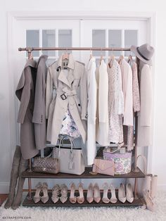 DIY clothing & shoes rack // gray, pink, cream spring wardrobe colors