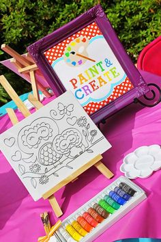 Art themed 8th birthday party via Kara's Party Ideas KarasPartyIdeas.com Printables, cake, decor, cupcakes, desserts, invitation, etc! #artp...