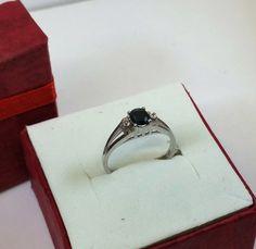 166 mm 925 Silberring Saphir und Kristalle SR664 von Schmuckbaron
