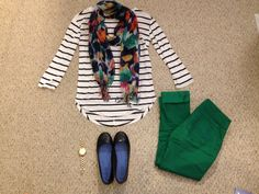 Spring teacher outfit. Shirt: JCPenney's (Ana brand), Scarf: Walmart, Pants: Kohl's, Shoes: Payless