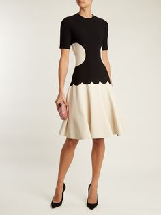 Intarsia-knit flared-skirt dress | Alexander McQueen