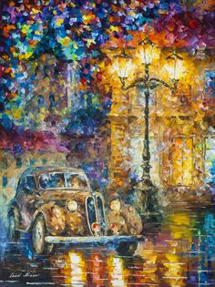 VINTAGE CAR COLLECTION - OLD STREET - Pintura al oleo de Leonid Afremov. Sólo hoy - 89$. Envío gratis https://afremov.com/old-street-Oil-Painting-On-Canvas-By-Leonid-Afremov-30-X40-75cm-x-100cm.html?bid=1&partner=20921&utm_medium=/offer&utm_campaign=v-ADD-YOUR&utm_source=s-offer