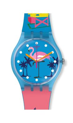 MIAMI VIBES-have loved the 'Miami Flamingo' ever since Miami Vice!! Swatch Watch