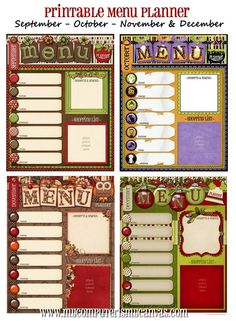 Fun printable for a menu planner. Exactly what I need and I can change it out according to season!