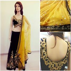 Beautiful black lehenga with scalloped edge blouse and yellow dupatta