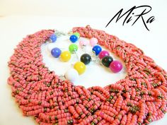 Maxi Beads pink necklace with Candy Boo earnings different colors  www.mirasstore.com