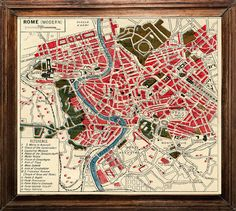 Modern Rome Map (reminds me of the Cavallini and Co vintage Paris map) $22 8x8