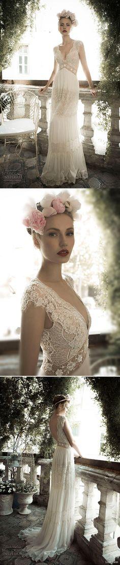 Beautiful A-line Cap Sleeves Lace Bohemian Wedding Dress