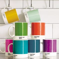 Pantone coffee mugs--would be cool to put on display in a neutral kitchen
