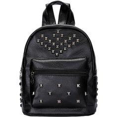 Black Studded PU Bag (69 RON) ❤ liked on Polyvore featuring bags, backpacks, romwe, black, rucksack bag, studded backpack, pu backpack, knapsack bags and backpacks bags