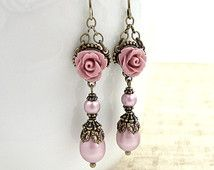 Dusty Pink Neo Victorian Earrings - Swarovski Pearl Resin Rose Earrings - Antique Style Brass Bronze Earrings Shabby Chic Victorian Jewelry
