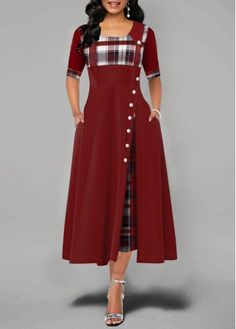 fashion dresses Women dress Fashion Casual Irregular Plaid Print Button Maxi Dress New Arrival Half Sleeve Round Plus Size Party Dresses women Material: Polyester Material: Spandex Sil Dress Outfits, Casual Dresses, Maxi Dresses, Dress Clothes, Trendy Dresses, Stylish Outfits, Evening Dresses, Cool Outfits, Bridesmaid Dresses
