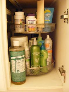 Bathroom Organization. I like the idea of a lazy Susan under the bathroom cabinet.  I'm always digging around, searching for an item.