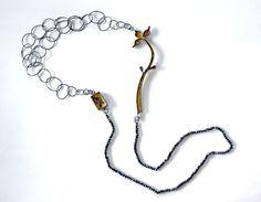 Melitina Balabin – A LEPIDOPTERISTS DREAM, necklace, 2011, silver, patina, leaf gold, spinel