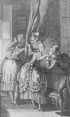 """La fille de mon hôtesse, ou la mère soupçonneuse. Une jeune personne tenant d'une main le rideau de la croisée, avec lequel elle dérobe aux yeux de sa mère, son amant, qui lui baise la main, et qui lui dit : """"Je vous adore, et je vous le jure, en dépit des précautions!""""     A young woman is holding in one hand the curtain to sheild her actions from other viewers while she allows her lover to steal a kiss.   """"I adore you..."""""""