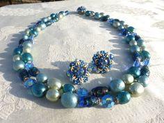 AMAZING Vintage BLUE GREEN Crystal Art Glass BAROQUE PEARL Necklace Set VENDOME #Vendome