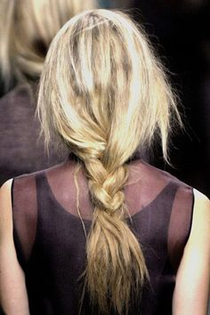 """I usually tease it when I skip the elastic. Of course, that's with my tiny braids. This is cool. """"Skip the elastic and instead secure your braid with hidden bobby pins twisted throughout the ends."""""""