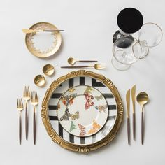 Gold Florentine Charger + Christian Lacroix Dinnerware in Sol Y Sombra + Mackenzie-Childs Dinnerware in Butterfly Garden + Gold Versailles Glass Bread Plate + GOA 24K Gold Flatware + 14K Gold Salt Cellars + Chloe Gold Rimmed Stemware & Chloe Gold Rimmed Stemware in Black | Casa de Perrin Design Presentation