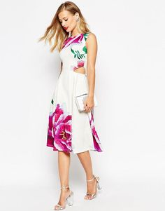 ASOS | ASOS Picnic Dress with Cut Out Sides in Oversized Floral Print at ASOS