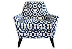 Porter Velvet-Print Chair, Navy/White  OKL 3/2/15  $1199.00  The pattern matching is almost perfect.  Clean lines, low-swept arms, and a blue velvet print define this armchair. A reclined back and tight seat provide extra comfort, while its splayed, tapered legs give the piece midcentury footing. The seat fill of high-resiliency foam surrounded by feathers and down ensures long-lasting support. Handcrafted in Southern California.
