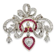 Antique Jewelry An Edwardian ruby and diamond brooch pendant, of diamond bow and ribbon design with calibre-cut rubies and heart shaped diamond drop, circa Ruby Jewelry, Jewelry Shop, Diamond Jewelry, Fine Jewelry, Jewelry Design, Gold Jewelry, Jewellery, Pendant Jewelry, Jewelry Rings
