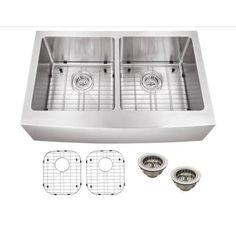 Schon All-in-One Apron Front Stainless steel 32-7/8x19x10 in. 0-Hole Double Bowl Kitchen Sink-SCAP505016 - The Home Depot