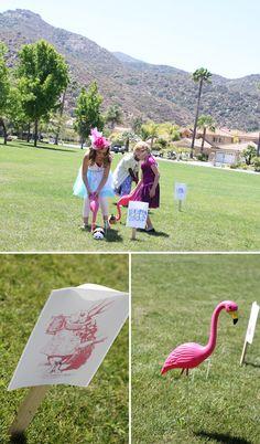 Alice in Wonderland Birthday Party: Pink Flamingo Croquet