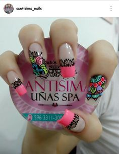 Uñas Great Nails, Cute Nails, Hair And Nails, My Nails, Crazy Nails, French Tip Nails, Manicure E Pedicure, Nail Decorations, Flower Nails