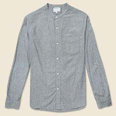 Band Collar Shirt - Indigo