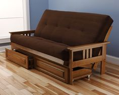 Andover Futon Frame and Drawer Set in Light Honey Oak Wood, Suede Innerspring Mattress, Chocolate
