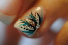French tips with teal, silver and black design