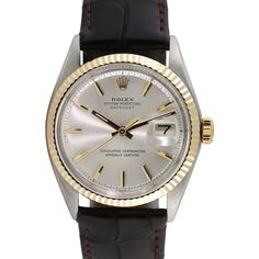 Rolex Women's Two-Tone Stainless Steel & Leather Datejust Watch, 36mm... ($3,395) ❤ liked on Polyvore featuring jewelry, watches, gold, gold jewellery, automatic movement watches, wide leather strap watches, stainless steel gold jewelry and leather wrist watch